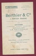 290120 - Années 1920  DOCUMENT Commercial PYROTECHNIE BERTHIER MONTEUX Vaucluse Artifice Illumination Fusée Paragrêle - Old Professions