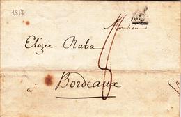 LAC De Paris (75) Pour Bordeaux (33) - 30 Juin 1817 - Cachet P En Triangle Noir - Taxe Manuelle 8 - Storia Postale