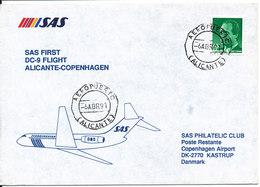 Spain Cover First SAS DC-9 Flight Alicante - Copenhagen 6-4-1991 - 1991-00 Cartas