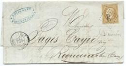 N° 13 SUR LETTRE / ROQUECOURBE TARN POUR ROQUECOURBE / 1857 / BOITE RUALE A BURLATS / PC 2723 INDICE 8 - Marcophilie (Lettres)