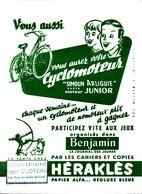 BUVARD BLOTTING PAPER VOTRE CYCLOMOTEUR JEUX BENJAMIN CAHIERS HERAKLES CACHET COMMERCE  CHATEAUBRIANT - Transports