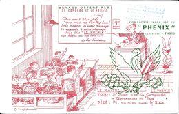 BUVARD BLOTTING PAPER ASSURANCE PHÉNIX LE CORBEAU ET LE RENARD CACHET COMMERCE  CHATEAUBRIANT - Banque & Assurance