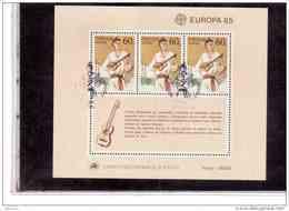 """BF407      -     MADEIRA      -     BLOCCO FOGLIETTO USATO  CAT. UNIFICATO NR.  6  """" EUROPA 1985 """" - Madeira"""