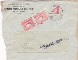 """""""BANCO POPULAR DEL PERU"""" BOLIVIA COMMERCIAL COVER, CIRCULATED FROM LA PAZ. BISECTED STAMP, RARE -LILHU - Bolivie"""