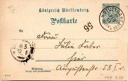 "(L) Württemberg Amtl. Ganzsachen-Postkarte ""Königreich Württemberg"" P 41, 2 Pf, Grautükis, Gel. 12.FEB.01 STUTTGART - Wuerttemberg"