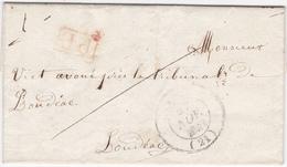LAC De Lamballe (22) Pour Loudéac (22) - 27 Novembre 1842 - CAD Rond Type 12 & 14 - Cachet Port Payé Rouge - Marcophilie (Lettres)