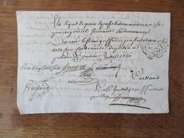 16 JUILLET 1750 G.DE POITIERS HUIT  DEN. FAUTE DE COMPAROIS EST DONNE A M.CLAUDE ALEXIS DELABARRE LONDIERE DAME LE - Cachets Généralité