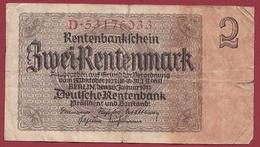 Allemagne 2 Rentenmark Du 30/01/1937 Dans L 'état - Sonstige