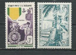 OCÉANIE Scott 179, 181 Yvert 202, 204 (2) * Cote 17,50 $ 1952-56 - Océanie (Établissement De L') (1892-1958)