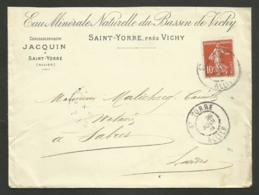 """ALLIER - SAINT YORRE """" Eau Minérale Bassin De Vichy JACQUIN """" / Enveloppe 1909 Pour SABRES - LANDES - Marcophilie (Lettres)"""