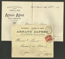 """BOUCHES DU RHONE - PUY Ste REPARADE """" Voitures De Louage ARNAUD ALFRED """" / Enveloppe + Lettre 1914 - Marcophilie (Lettres)"""