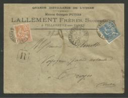 """YONNE - VILLENEUVE SUR YONNE """" Distillerie LALLEMENT """" / Enveloppe Recommandée Mouchon 1901 - Postmark Collection (Covers)"""