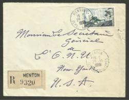 75F Alpinisme / Recommandée MENTON 29.11.1956 Pour USA - Poststempel (Briefe)