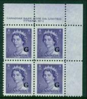 """-Canada-1952- """"Queen Elisabeth II""""  MNH **  Overprinted 'G' - Officials"""