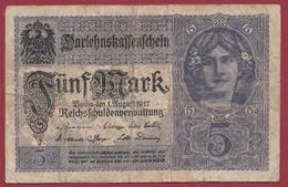 Allemagne 5 Mark Du 01/08/1917 Dans L 'état - [ 2] 1871-1918 : Impero Tedesco