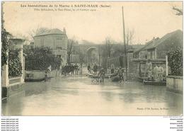 Inondation Et Crue De 1910. SAINT-MAUR 94. Rue Pinet Villa Schacken - Saint Maur Des Fosses