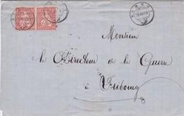 Brief Von Romont Nach Fribourg Am 26.III.1869 Mi: Paar 30 Sitzende Helvetia - 1862-1881 Helvetia Seduta (dentellati)