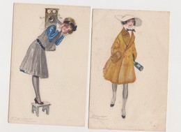 2 Cpa Fantaisie Dessinées Signées Mauzan / Jeune Femme Au Téléphone /Jeune Femme En Promenade - Mauzan, L.A.