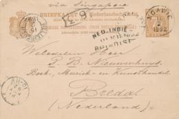 Nederlands Indië - 1892 - 7,5 Cent Cijfer, Briefkaart G9 Van Rondstempel NGAWIE - Over Brindisi - Naar Breda - Indes Néerlandaises