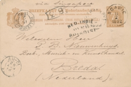 Nederlands Indië - 1892 - 7,5 Cent Cijfer, Briefkaart G9 Van Rondstempel NGAWIE - Over Brindisi - Naar Breda - Netherlands Indies