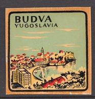 1960s YUGOSLAVIA, MONTENEGRO, BUDVA, TOWN, CITY, BAGGAGE LABEL, 6 X 6 Cm - Hotel Labels