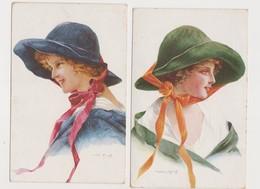 2 Cpa Fantaisie Dessinées Signées Martin-Kavel / Jeune Fille Avec Grand Chapeau - Illustratori & Fotografie