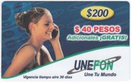 MEXICO B-016 Prepaid Unefon - People, Woman - Used - México