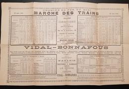 Horaires Des Trains Lignes Bordeaux à Cette, Carcassone à Quillan 22 Juin 1885, Au Dos Publicité Carrossier Voitures - Europe