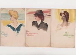 3 Cpa Fantaisie Signées FRK, Style Art Céco / The August Girl ; The September Girl ; The December Girl - Illustratori & Fotografie
