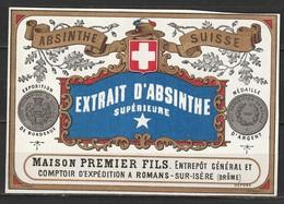 Etiquette Absinthe Suisse Maison Premier Fils à Romans-sur-Isère - Autres