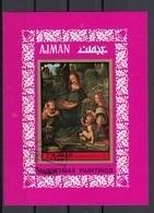 Ajman 1972 Bf.   Vergine Delle Rocce (Prima Versione) Quadro Dipinto Da Leonardo Da Vinci Paintings Sheet Imperf. CTO - Ajman