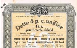 Titre Ancien -Royaume De Belgique - Dette 4% Unifiée 1936 - Geünificeerde Schuld 4% 1936 - Titre Original - Actions & Titres