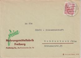 Brief, Nahrungsmittelfabrik Freiberg An Edeka-Genossenschaft Schönebeck, Mi-nr. 455, 1958 - Briefe U. Dokumente