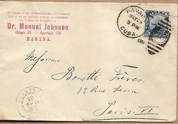 CUBA 1903 Cover Sent To Paris 1 Stamp COVER USED - Briefe U. Dokumente