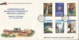 Zimbabwe FDC 16-10-1991 Commonwealth Heads Of Government Meeting (CHOGM) Complete Set Of 6 With Cachet - Zimbabwe (1980-...)