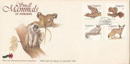 Zimbabwe FDC 15-1-1991 Small Mammals Of Zimbabwe Complete Set Of 4 With Cachet - Zimbabwe (1980-...)