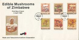 Zimbabwe FDC 8-4-1992 Edible Mushrooms Of Zimbabwe Complete Set Of 6 With Cachet - Zimbabwe (1980-...)