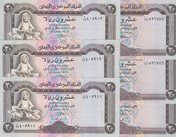 YEMEN 20 RIALS 1990 P-26a 26b Sig/8 ALGUNAID 3 PAIRS. 6 UNC NOTES LOT */* - Yemen