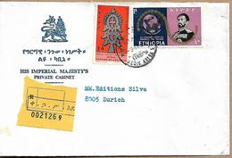ETHIOPIA 1968 Registered Cover Sent To Zurich 2 Stamps COVER USED - Etiopía