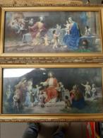 2 Antieke Kaders Met Religieuze Afbeeldingen - Lampen