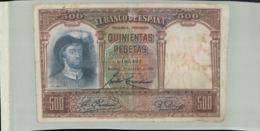 Billet De Banque  ESPAGNE ELBANCO DE ESPAGNA 500 Pesetas  1931--Janv 2020  Clas Gera - [ 2] 1931-1936 : République