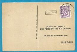 422 Op Kaart Met Stempel PERUWELZ Met Omkaderde Naamstempel (Griffe D'origine) WIERS (VK) - Marcophilie