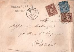 ! Lettre 1878, Frankreich, France, Bordeaux Par Paris - 1876-1898 Sage (Tipo II)