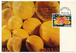 ESPAGNE - Carte Maximum - Exportation D'Oranges - 1981 - Tarjetas Máxima