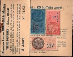 ! 1935 Frankreich, France, Nouveau Casino De Menton, Roulette, Carte De 8 Jour, Timbres Fiscal, Steuermarken - Fiscaux