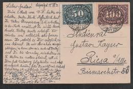 Deutsches Reich / 1923 / AK Mit Infla-MiF Stegstempel Leipzig (5634) - Covers & Documents