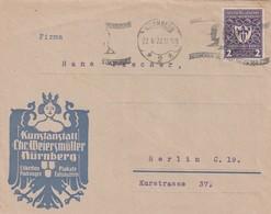 Deutsches Reich / 1922 / Mi. 200 EF Auf Brief Masch.-o Nuernberg, Int. Firmenzudruck Kunstanstalt Weiersmueller (5643) - Germany