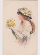 Cpa Fantaisie Dessinée ( Signature Illisible) / Jolie Jeune Femme Au Chapeau  Avec Bouquet De Fleurs/Gibson  Art - Illustratori & Fotografie
