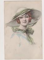 Cpa Fantaisie Dessinée Signée E.Meier / Jeune Femme Au Chapeau - Illustrators & Photographers