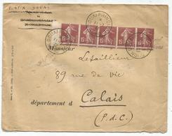 SEMEUSE 15C BRUN N°189 BANDE DE 5 PIQUAGE DECALE LETTRE DOUAI 11.7.1932 SIGNE CALVES RARE - 1906-38 Semeuse Con Cameo
